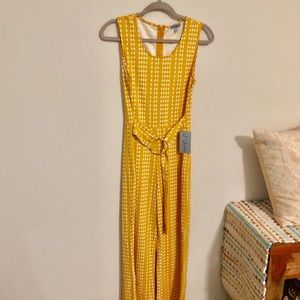 70s style jumpsuit. NWT. Mustard yellow